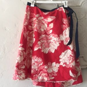 Anthropologie wrap skirt, floral print + denim tie